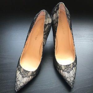 Ivanka Trump gold lace heels. Size 9.